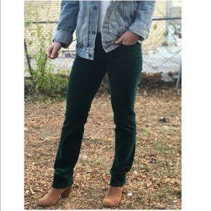 Green velvet pants